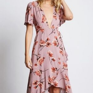 Cotton Candy LA Mauve Plunging Floral Dress S